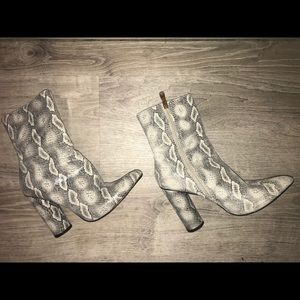 [ Faux Snakeskin Heeled Boots ] 